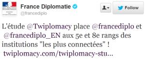 Réaction du Ministère Français des Affaires Etrangères à l'étude de @Twiplomacy