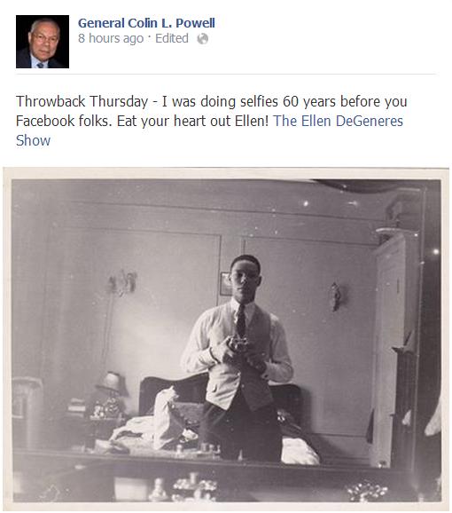 Le selfie dans un miroir de l'ancien Secrétaire d'état américain Colin Powell prise il y a 60 ans